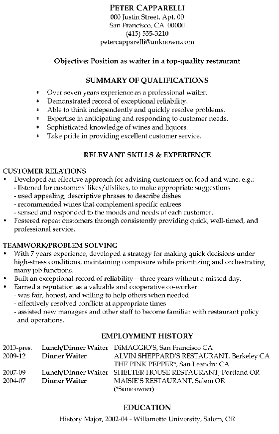 this is a sample resume for a waiter who has been in his line of work for over 10 years he uses the functional resume format to highlight skills required