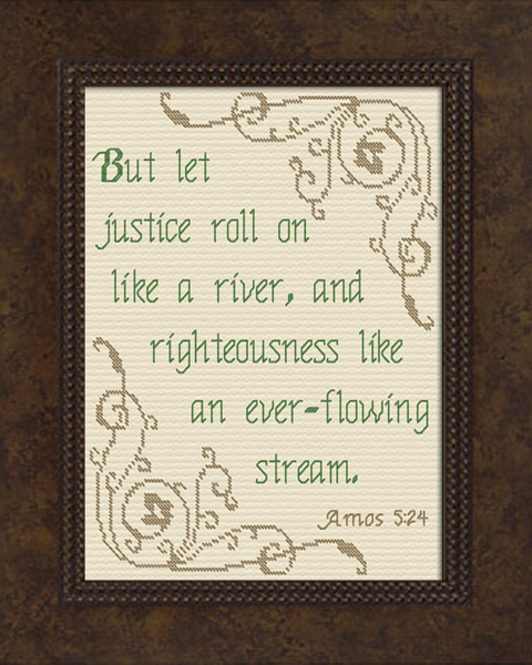 Let Justice Roll Amos 5 24 Cross Stitch Design Cross Stitch Designs Cross Stitch Stitch Design