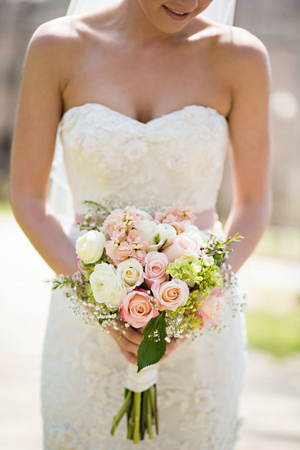 Shop/Steal This Pink And Mint Bridesmaid Look | Pink rose bouquet ...