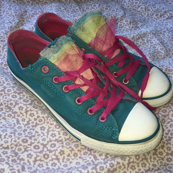 6ec3a42a4ffd converse sz 6 youth Tulle embellished converse. Good condition. Not perfect.  Womens size 8.5 Converse Shoes Sneakers