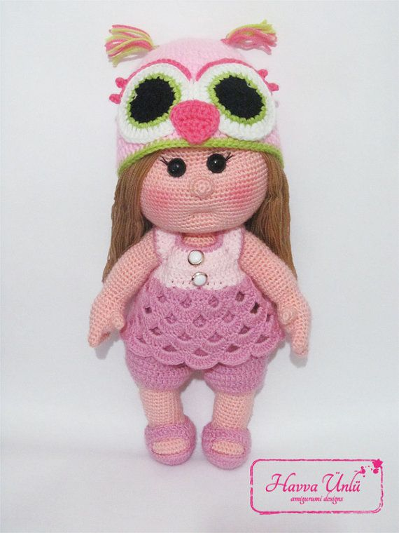 PATTERN- Mia Doll With Strawberry Dress (crochet, amigurumi ...
