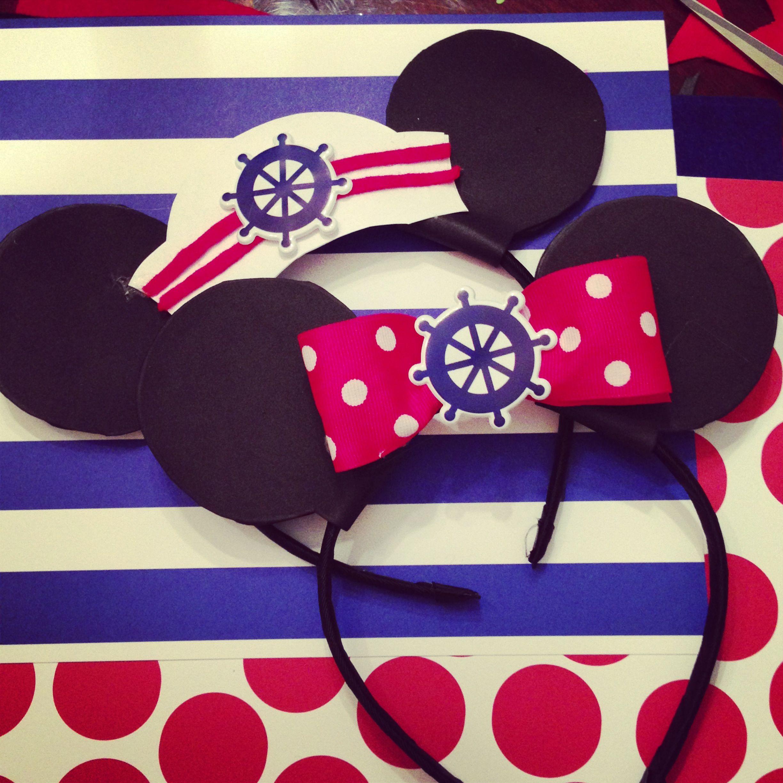 Erica - DIY Nautical Mickey & Minnie Mouse ears for a Nautical ...