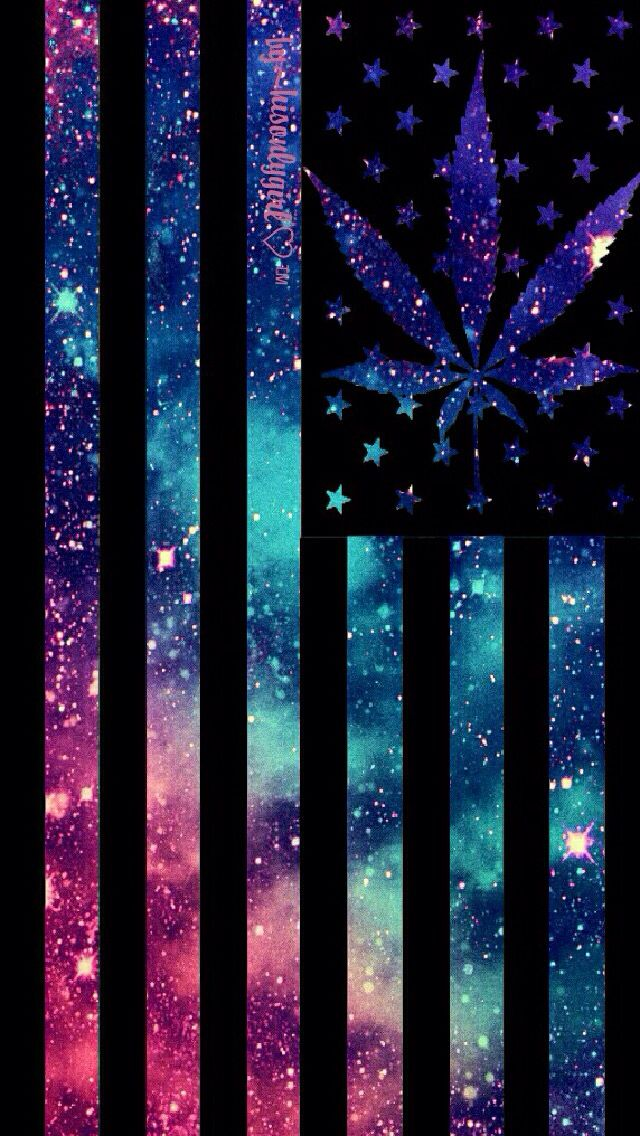 Marijuana Galaxy Flag iPhone wallpaper painting in