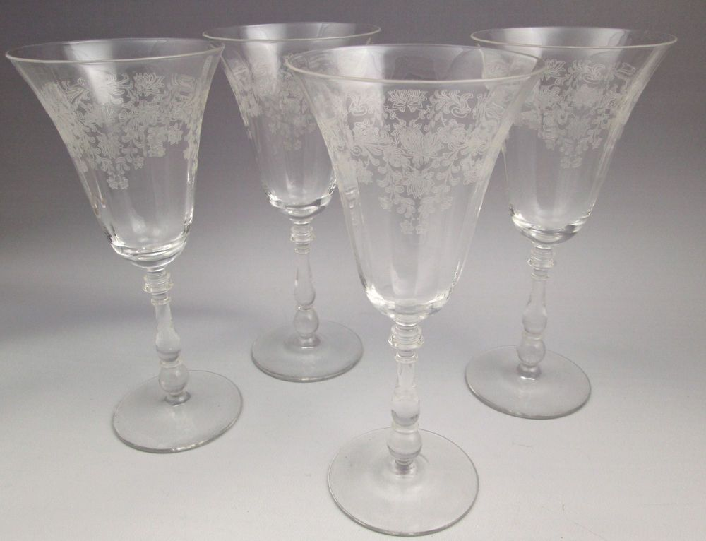 1940s bryce fern leaf water goblets or wine glasses etched floral 4 bryce