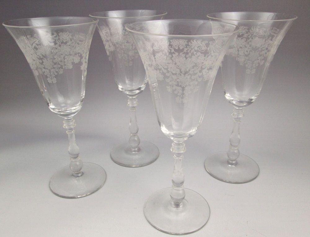 1940s Bryce Fern Leaf Water Goblets Or Wine Glasses Etched Floral 4 Bryce Vintage Crystal Glasses Vintage Tableware Wine Glasses