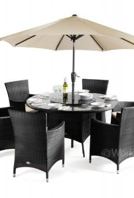 Cannes-Rattan-Round-6-Seater-Dining-Set-Black-. Black Rattan Garden FurniturePatio ...  sc 1 st  Pinterest : rattan garden table and chairs set - pezcame.com