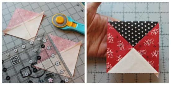 Quarter square triangle tutorial @ The Crafty Quilter  Learn