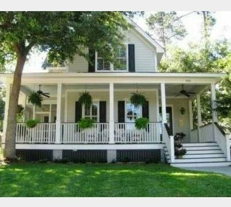 Love The Hanging Plants And Inviting Porch 💐 Southern Style Farm House  With Wrap Around Porch