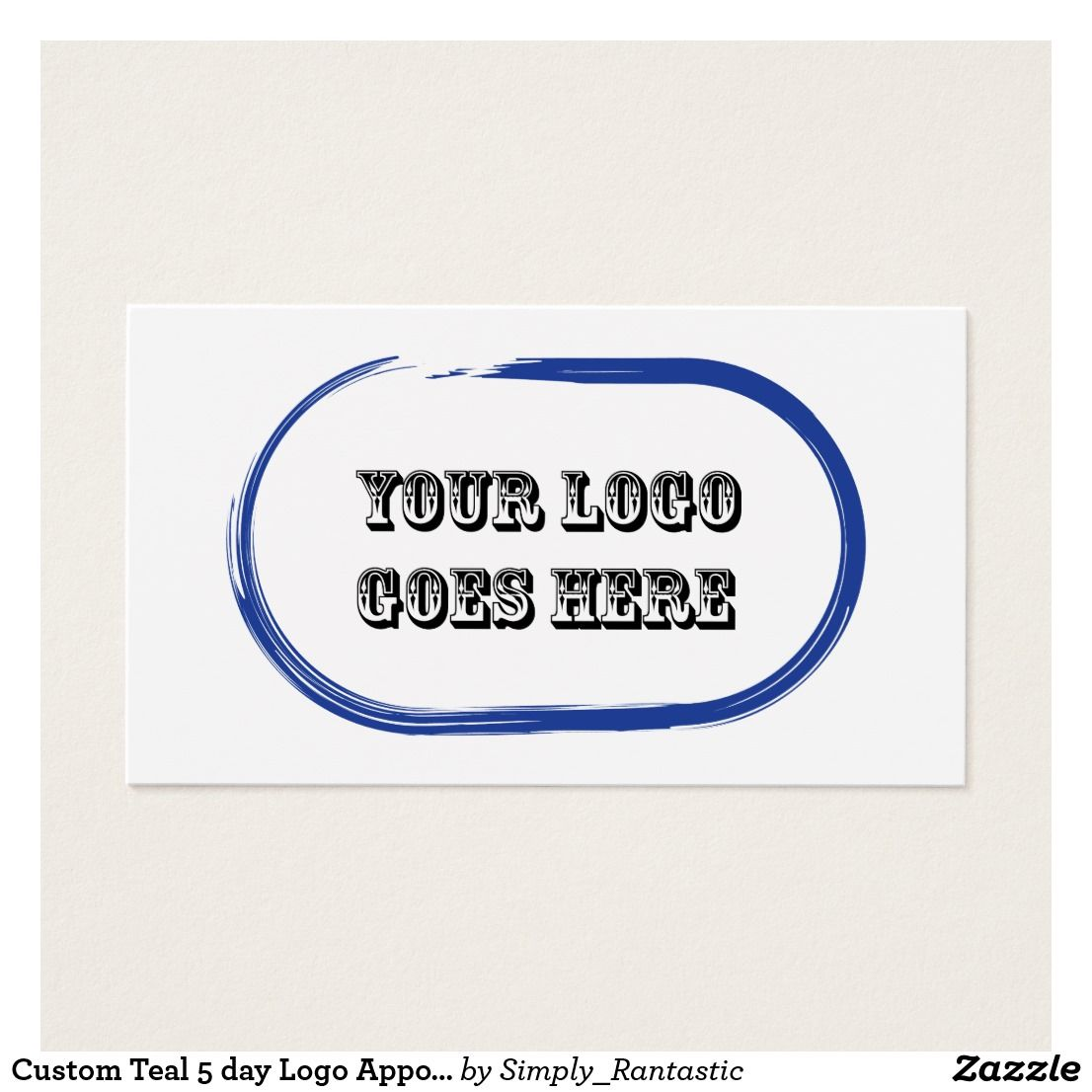 Custom Teal Print 5 day Logo Appointment Reminder Cards. Business ...