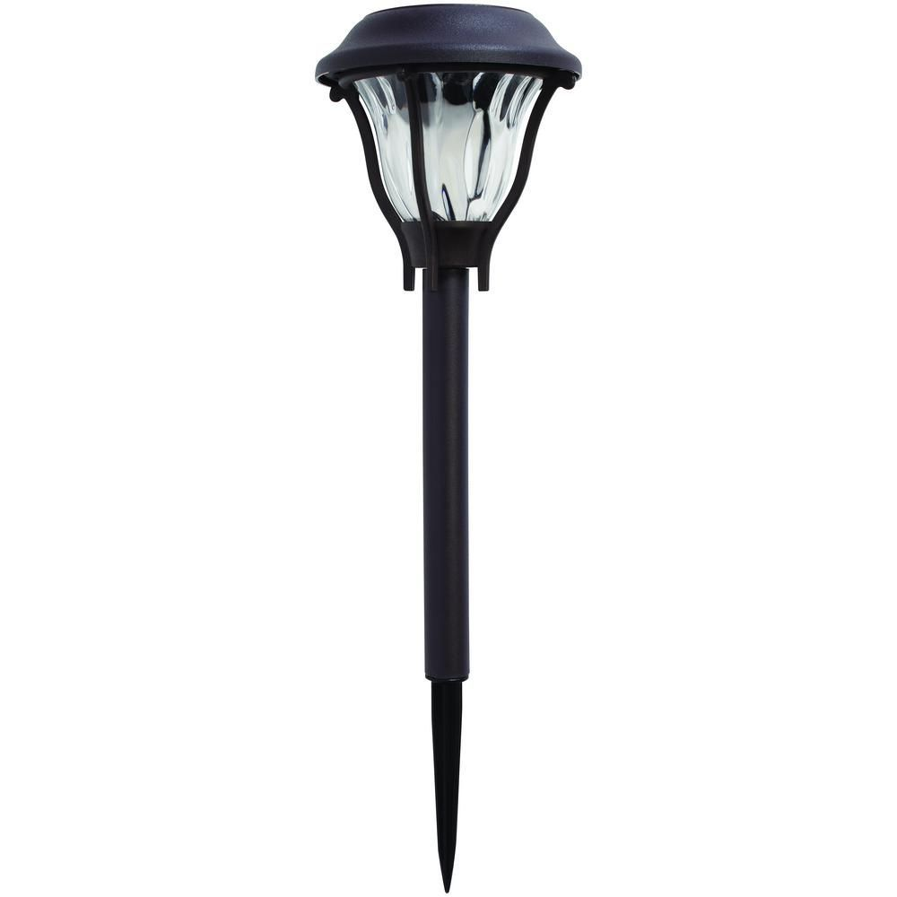 Hampton bay solar bronze outdoor integrated led landscape path light