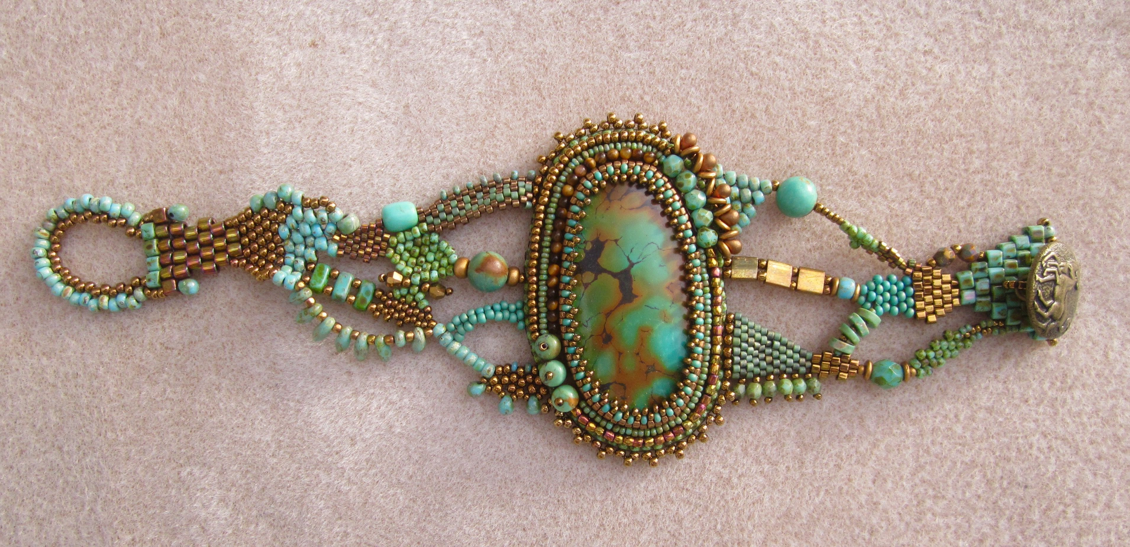 Marcias Turquoise & Old Gold Bracelet Bead Embroidery And
