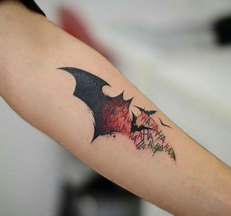 50 batman symbol tattoo designs for men superhero ink ideas joker batman and tattoo. Black Bedroom Furniture Sets. Home Design Ideas