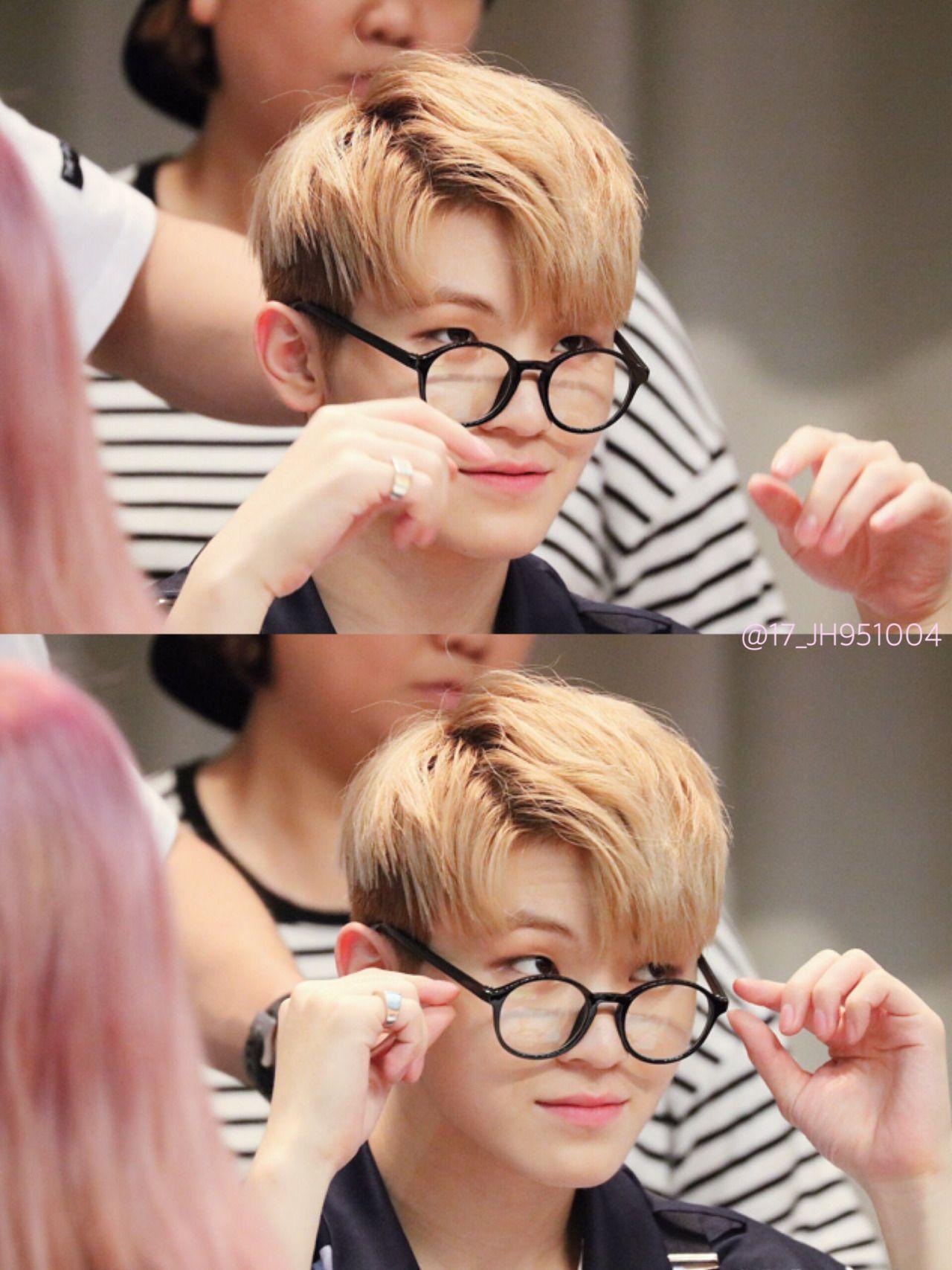 Seventeen woozi he looks so cute with glasses like omo