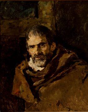 MARIANO FORTUNY, Mendigo, Óleo sobre lienzo, 62 x 50 cm.