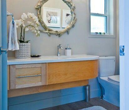 Love the modern credenza as bathroom vanity cabinet - Modern powder room vanity ...