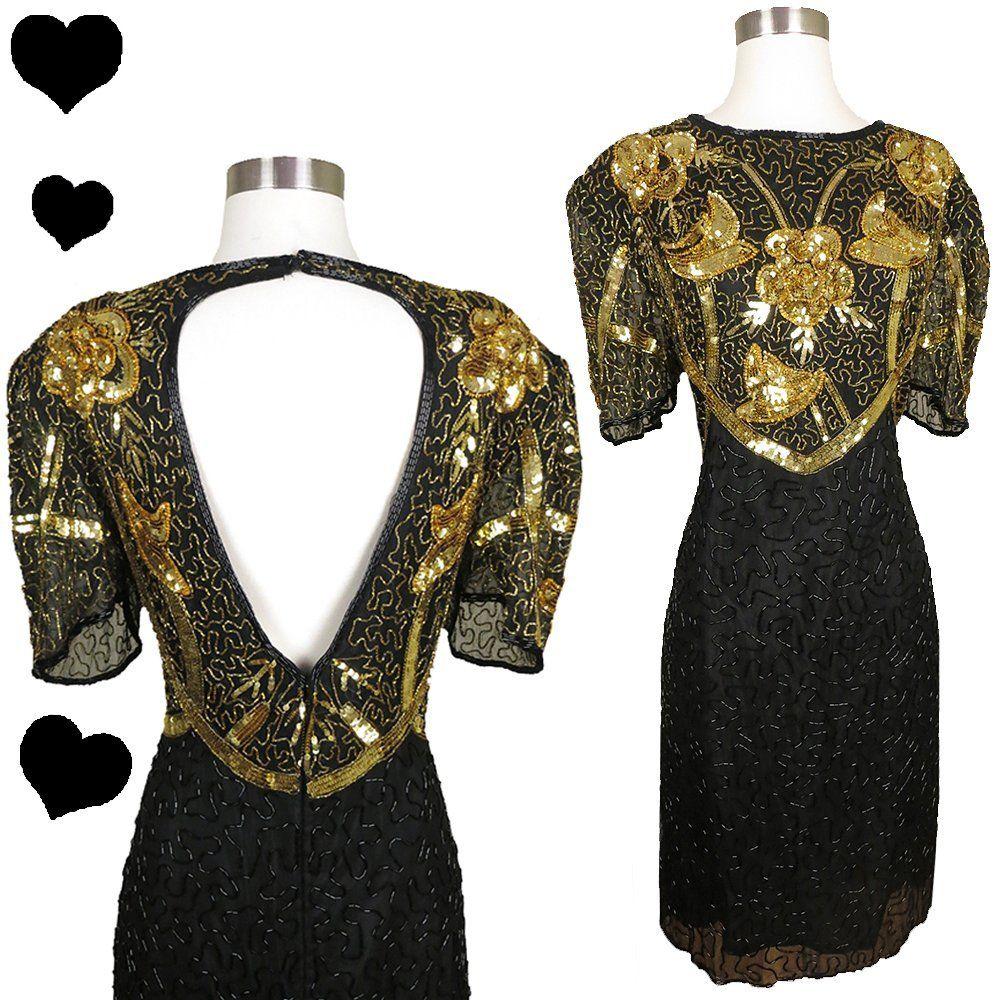 Vintage s black gold sequin dress l pinupdresses vintage