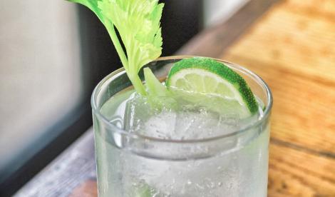 CELERY DAISY**   ~1.25 oz Don Julio Blanco Tequila  ~.25 oz Elderflower Liqueur ~1 tsp Fino Sherry ~.25 oz fresh Lime Juice ~.25 oz fresh-pressed Celery Juice* ~1 tsp Raw Honey Syrup** ~1 pinch Salt ~1 dash Celery and Orange Bitters  >Garnish: Lime wheel and Celery leaf