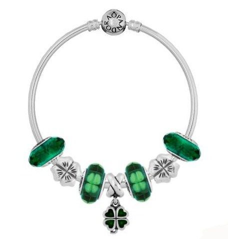 ad8c62ae2df My Pandora St. Patrick's Day Bracelet- on a bangle- one Green Four-Leaf  Clover Dangle, two