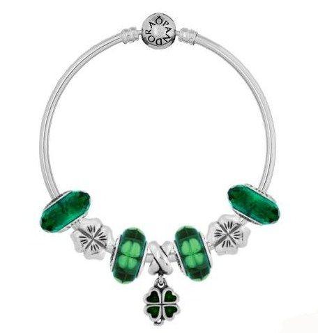 a3c18a951 My Pandora St. Patrick's Day Bracelet- on a bangle- one Green Four-Leaf  Clover Dangle, two