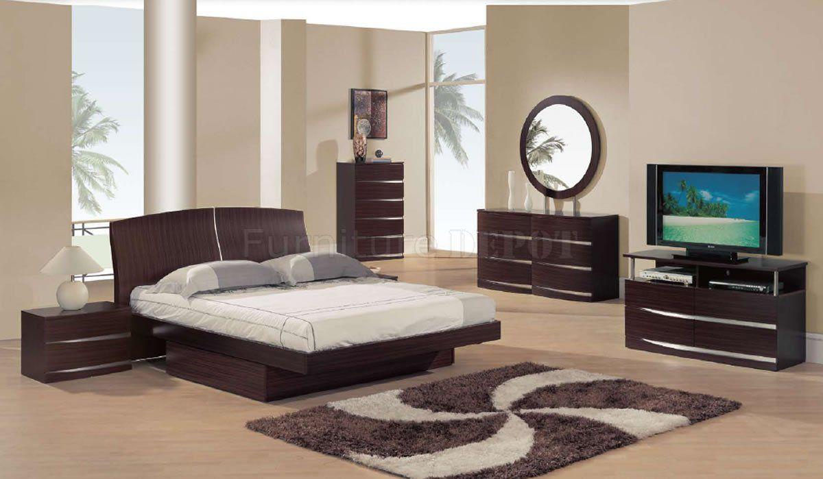 Captivating Bedroom Sets | Dark Mahogany Semi Gloss Finish Modern Bedroom Set W/Storage