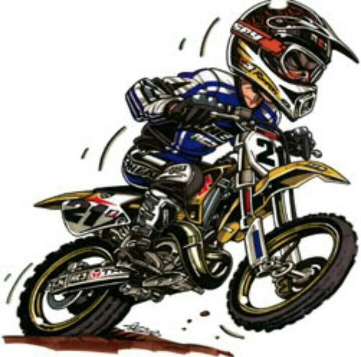 Pin by Luiz Mazza on Dirt Bikes Cartoon Art | Pinterest | Dirt biking and Dirt bike racing