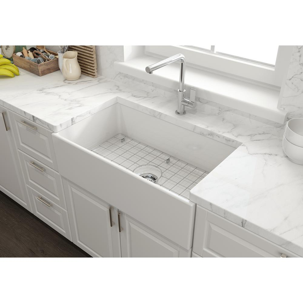 Glacier Bay Farmhouse Apron Front Fireclay 33 In Single Bowl Kitchen Sink In White With G In 2020 Single Bowl Kitchen Sink Farmhouse Sink Kitchen White Farmhouse Sink