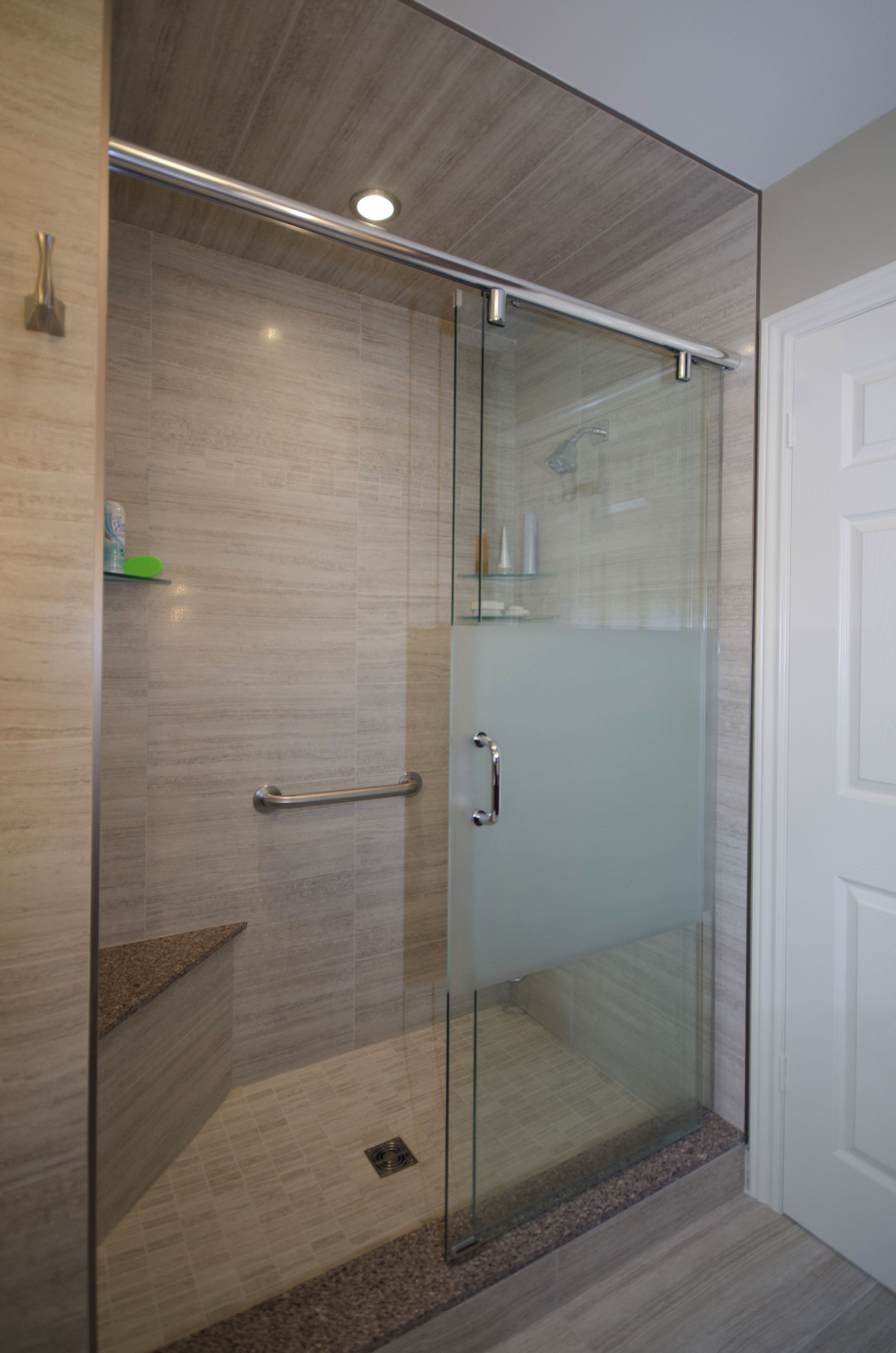 Shower Enclosure Corner Bench And Sliding Glass Doors With