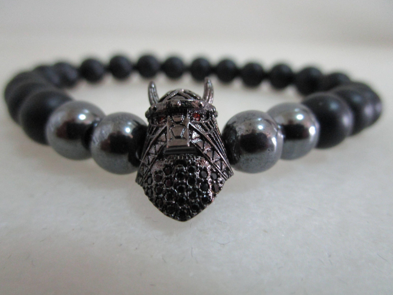 ba75249552f6 Viking pulsera casco Viking pulsera piedras naturales onix y hematita  pulsera para hombre pulsera viking joyeria