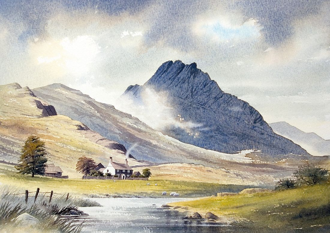Landscape Watercolour Paintings Of Snowdonia The Lake District And Scotland Watercolor Landscape Paintings Watercolor Landscape Landscape Drawings