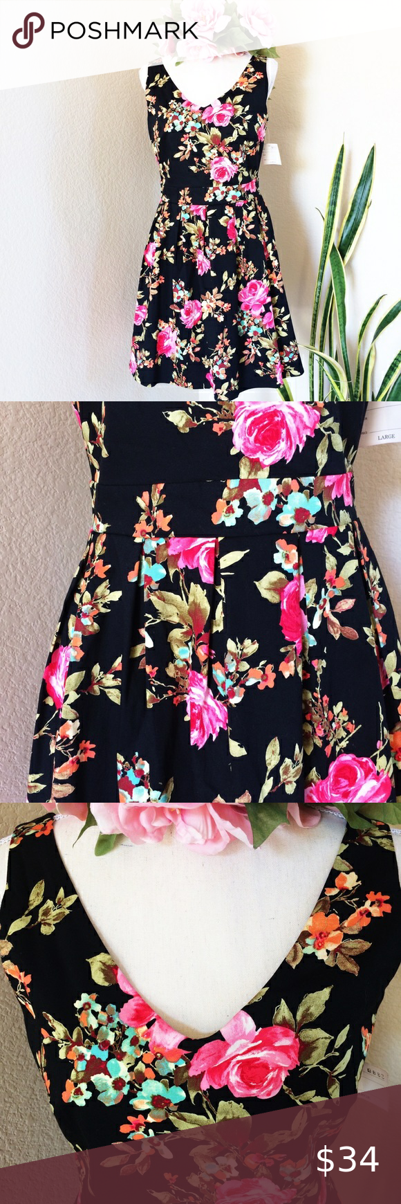 Ixia Black W Pink Floral Design Dress Sz Lg New Black Sleeveless Dress With Pink Flowers And Form Fitting Dress Vintage Style Dresses Clothes Design [ 1740 x 580 Pixel ]