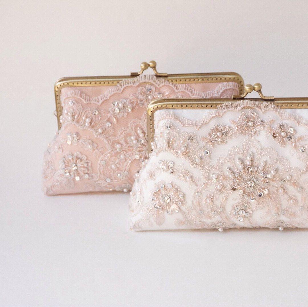 Blush Rose clutch / Personalized romance lace clutch / Bridesmaid ...