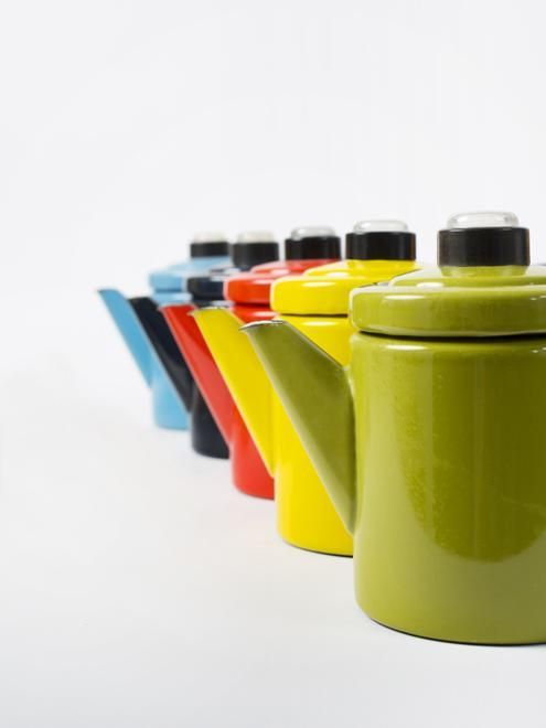 Pehtoori coffee pots manufactured by Finel, Finland. Design Antti Nurmesniemi for Arabia made by Finel.