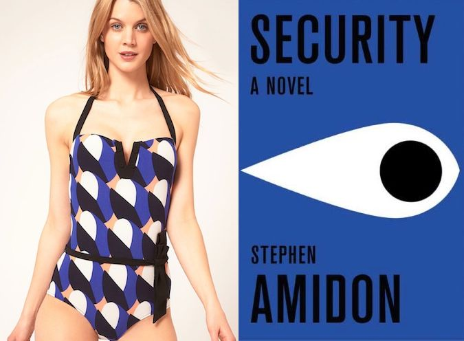 "A bikini to match my book? Yes please. The book: Security by Stephen Amidon   The first sentence: ""The alarm came in just as he was leaving the office.""  The bathing suit: Princesse Tam Tam Cloud Print Swimsuit"