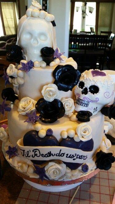 Skull Til Do Us Part Wedding Cake