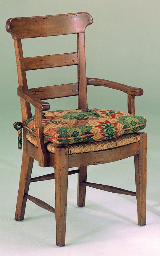 12801 Harvest Rush Seat Arm Chair with Tie On Cushion