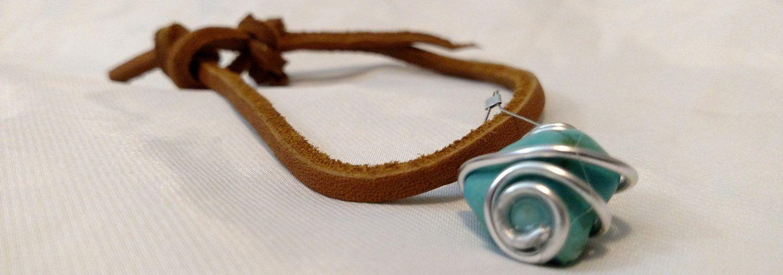 Leather Bracelet, Handmade Bracelet, Handmade Jewelry, Hand Wrapped Stone, Stone Charm, Women, Men by TJSoldtonew on Etsy