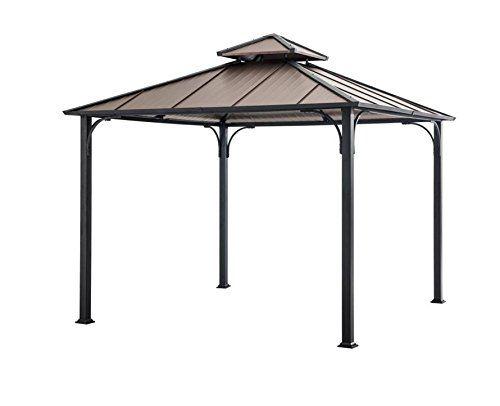 Sunjoy Hardtop Gazebo 10 X 10 Faux Copper Top Vented Canopy Provides Stability In Windy Conditions Steel Frame With A Du Hardtop Gazebo Gazebo Diy Gazebo