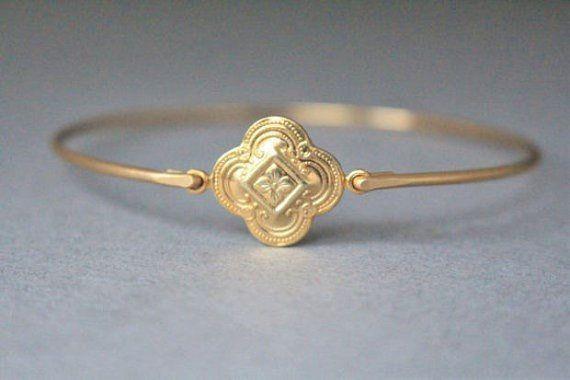 Gold Vintage Style Quatrefoil Gold Bracelet by Bauble Vine on Etsy  $14.95