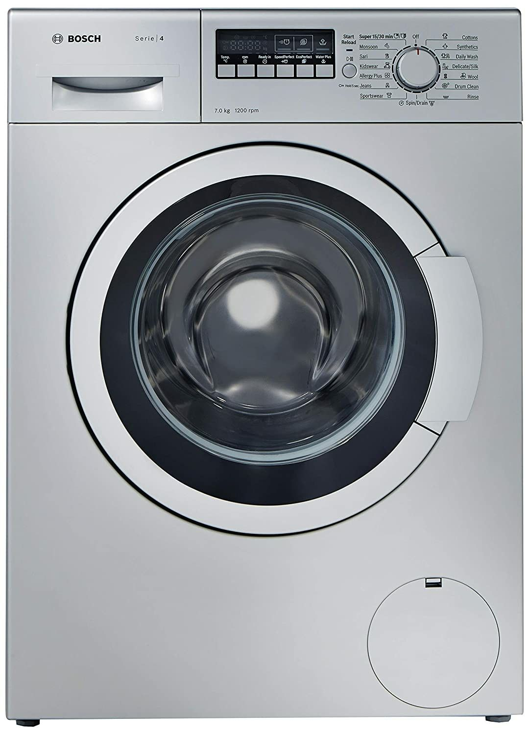 Bosch 7 Kg Fully Automatic Front Loading Washing Machine Wak24268in Silver Grey In 2020 Washing Machine Front Loading Washing Machine Bosch Washing Machine