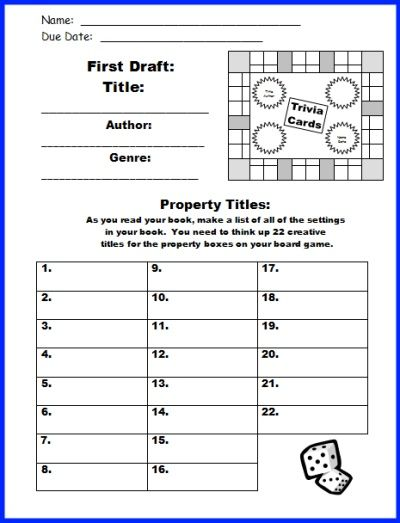 Game Board Book Report Project templates, worksheets, grading - instruction manual template