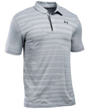 Under Armour Men's CoolSwitch Pieced Striped Performance Polo - Gray S