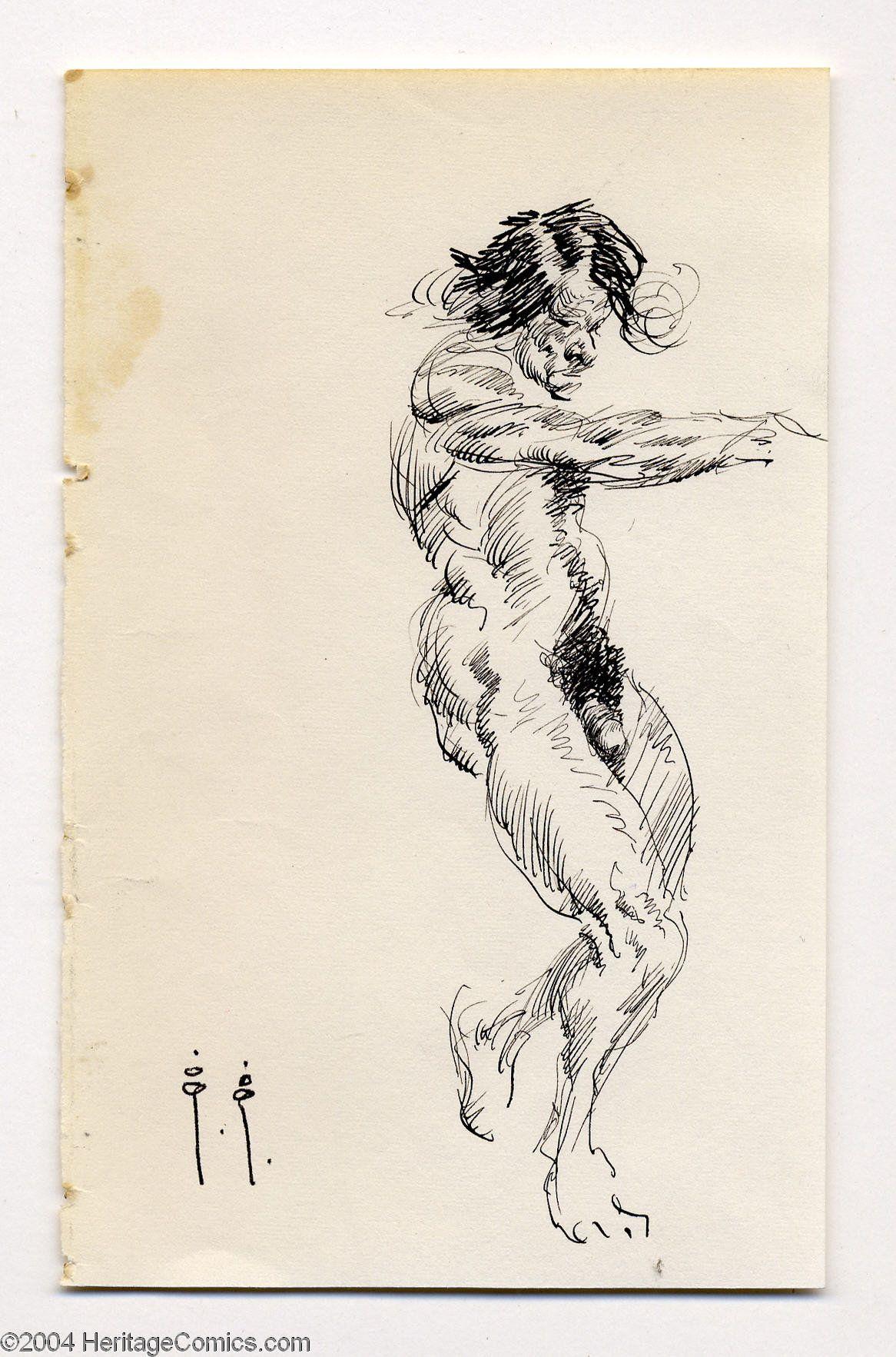 Frank Frazetta - Male Nude Figure Sketch Original Art   Lot #18011