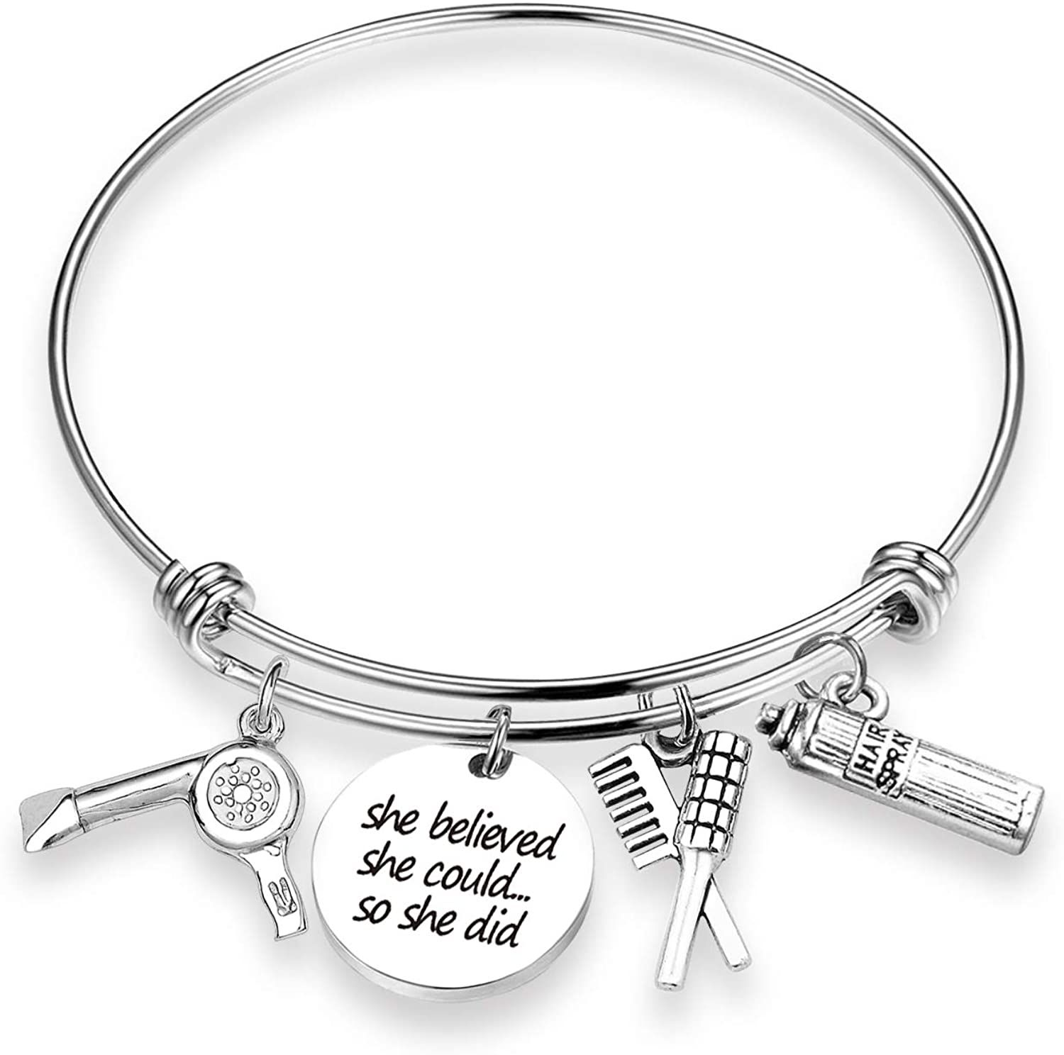 Eigso hairdresser gift hairdresser keychain bracelet she believed she could appreciation employee her