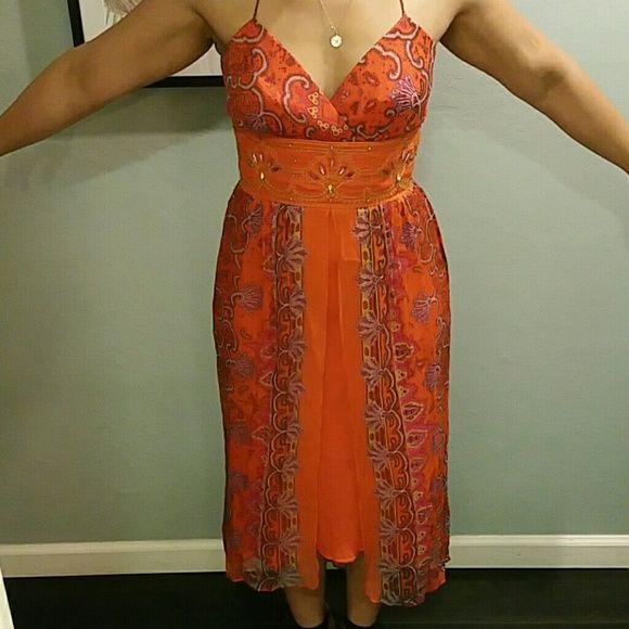 Laundry By Shelli Segal Embellished 100 Silk Dress Dresses Silk