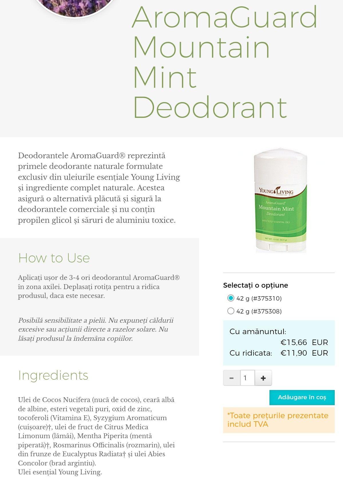 Aromaguard mountain mint deodorant 15 oz deodorant