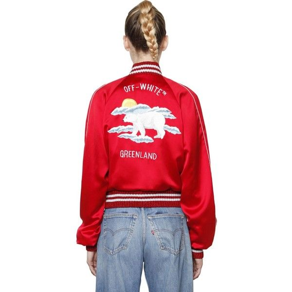 Off White Women Embroidered Silk Satin Bomber Jacket ( 1 9e1f6af6a