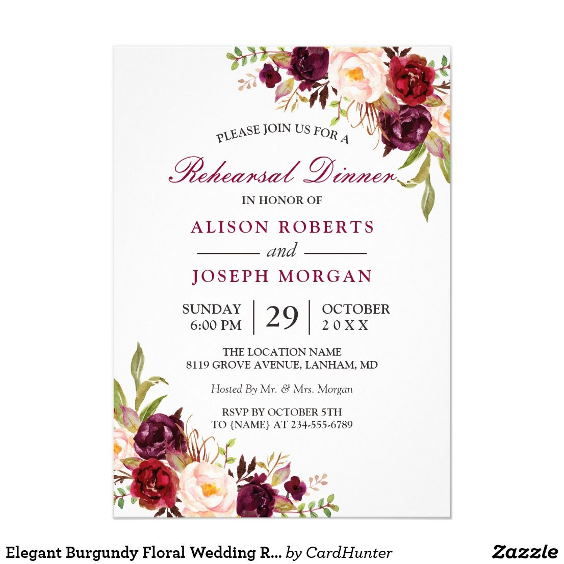 Elegant burgundy floral wedding rehearsal dinner invitation pinterest elegant burgundy floral wedding rehearsal dinner junglespirit Image collections