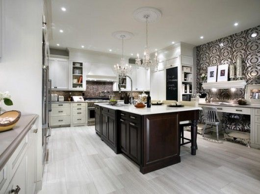 We love the white wash floors with dark cabinets for the for White floor with white kitchen