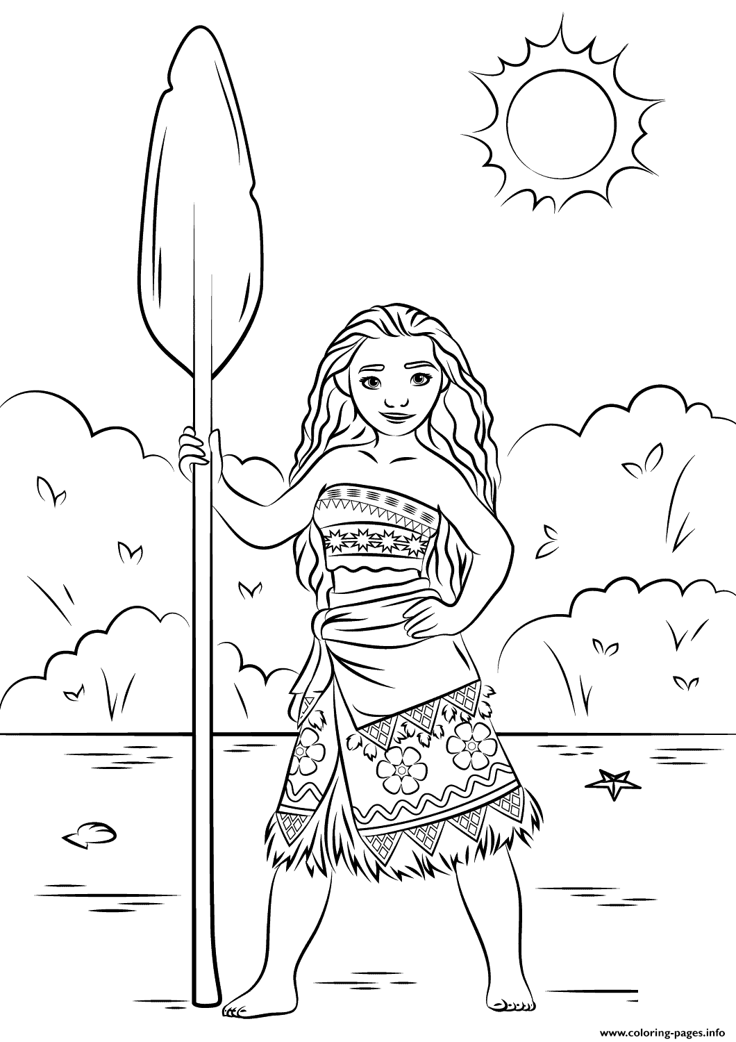 print princess moana disney coloring pages pretty papers paper