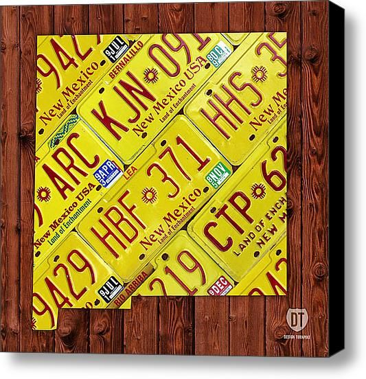 New Mexico License Plate Map Canvas Print / Canvas Art by ...